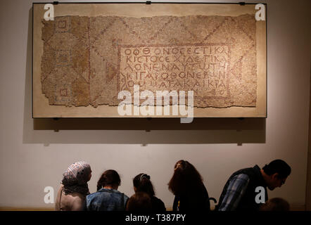Beirut, Lebanon. 7th Apr, 2019. A Byzantine mosaic collage is displayed at the National Museum of Beirut in Beirut, Lebanon, April 6. 2019. Officially opened in 1942, the National Museum of Beirut is the principal museum of archaeology in Lebanon with a collection of about 100,000 objects. Credit: Bilal Jawich/Xinhua/Alamy Live News - Stock Photo