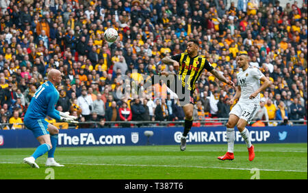 London, UK. 7th Apr, 2019. Watford's Andre Gray during The FA Emirates Cup Semi-Final match between Watford and Wolverhampton Wanderers at Wembley Stadium, London, on 07 Apr 2019. Credit: Action Foto Sport/Alamy Live NewsEditorial use only, licence required for commercial use. No use in Betting, games or a single club/league/player publication. Credit: Action Foto Sport/Alamy Live News - Stock Photo