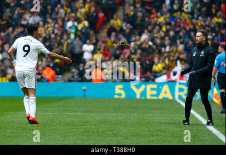 London, UK. 07th Apr, 2019. Wolverhampton Wanderers' Raul Jimenez through his Wolves Mask during The FA Emirates Cup Semi-Final match between Watford and Wolverhampton Wanderers at Wembley Stadium, London, UK on 07 Apr 2019. Credit: Action Foto Sport/Alamy Live NewsEditorial use only, licence required for commercial use. No use in Betting, games or a single club/league/player publication. Credit: Action Foto Sport/Alamy Live News - Stock Photo