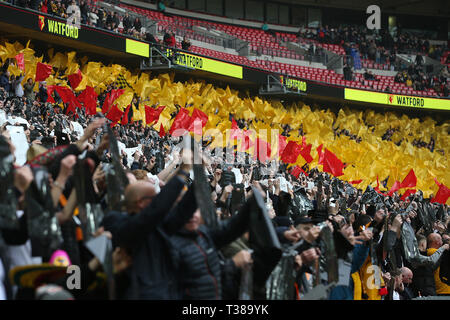 London, UK. 07th Apr, 2019. Watford fans before the FA Cup Semi Final match between Watford and Wolverhampton Wanderers at Wembley Stadium on April 7th 2019 in London, England. Editorial use only, licence required for commercial use. No use in Betting, games or a single club/league/player publication. (Photo by Paul Chesterton/phcimages.com) Credit: PHC Images/Alamy Live News - Stock Photo