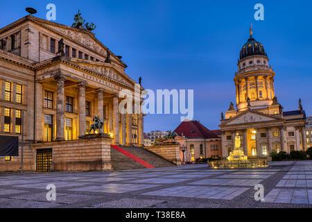The beautiful Gendarmenmarkt square in Berlin at dawn - Stock Photo