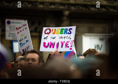 Protest outside the Dorchester Hotel, in opposition to Brunei's anti-LGBT policies. - Stock Photo