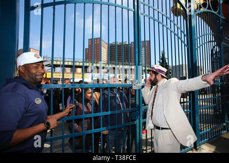 New York, USA. 06th Apr, 2019. Luna Park sales manager Jeff Klein welcomes first visitors of the season. Coney Island's famed Luna Park started its 2019 season with the second annual Charity Day in support of Children of Promise, NYC, a program designed to support children whose parents are incarcerated. Admission to the park is free for anyone donating $10, which goes directly to Children of Promise. Credit: Andy Katz/Pacific Press/Alamy Live News - Stock Photo