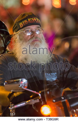 Daytona Beach, FL - 12 March 2016: Bearded bikers participating in the 75th Annual Bike Week at the World's Most Famous Beach. - Stock Photo