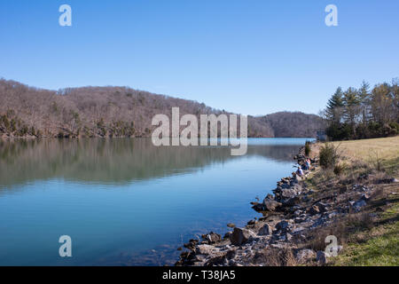 The Melton Hill Dam was built by TVA to service the region. It is a popular recreational site but there are ongoing concerns about contamination. - Stock Photo