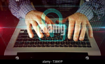 Man typing on laptop keyboard watching for padlock on hologram screen. Cyber security, internet safety and computer protection concept. Front view of  - Stock Photo
