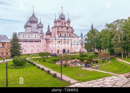 View of the churches of the Rostov Kremlin.Rostov Veliky. Yaroslavl region. Russia. The city of Rostov Veliky is a part of the Golden Ring of Russia - Stock Photo