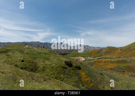 Beautiful superbloom vista in the Walker Canyon mountain range near Lake Elsinore, Southern California - Stock Photo