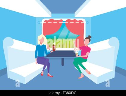 two women sitting together in train compartment passengers discussing drinking tea during vacation trip railway transport traveling concept flat full  - Stock Photo