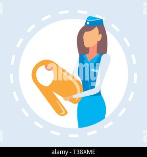 stewardess presenting how to use life vest airplane attendant safety concept plane board female worker in uniform portrait flat vector illustration - Stock Photo