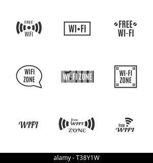 Set of various wireless icons isolated on a white background. Flat style, vector illustration. - Stock Photo