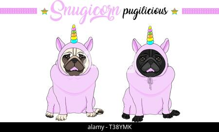 cute vector pug puppy dog sitting down, wearing pink jumpsuit with unicorn horn with rainbow colors - Stock Photo