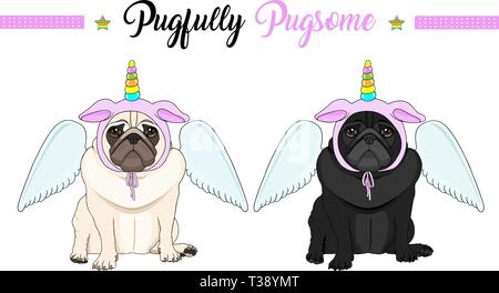 cute vector pug puppy dog sitting down, wearing pink bonnet with unicorn horn with rainbow colors and angel wings - Stock Photo