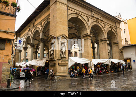 Mercato del Porcellino loggia covered open air market in Florence a few step from the Ponte Vecchio - Stock Photo