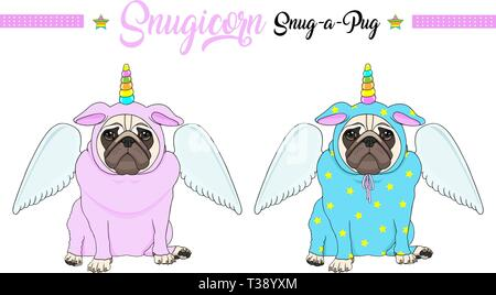 cute vector pug puppy dog sitting down, wearing pink and blue jumpsuit with unicorn horn with rainbow colors and angel wings - Stock Photo