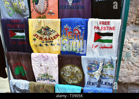 T shirts for sale in Muslim quarter Jerusalem Israel - Stock Photo