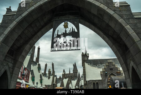Universal Studios Theme Park, entrance to Hogsmeade, Harry Potter Land, Hollywood, California, USA - Stock Photo