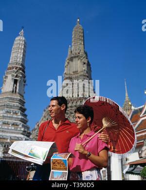Thailand. Bangkok. Tourists at Wat Arun Temple of Dawn. - Stock Photo