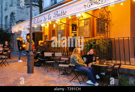 Founded in 1672 , the restaurant Le Relais de la Butte located in Montmartre in 18 district of Paris, France.