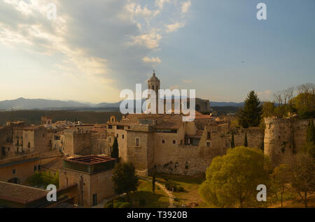 The historic centre of the city of Girona, Spain - Stock Photo