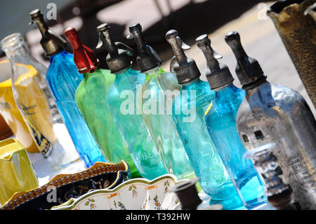 Antique Soda Syphons Siphons, Cours Saleya Flea Market, Old Nice, Vieux Nice, Nice, Provence, Cote d'Azur, France - Stock Photo