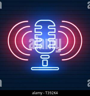 Neon signboard with microphone . Nightclub with live music icon. Glowing street sign of bar with karaoke and live singers. Sound cafe icon. Rock show  - Stock Photo