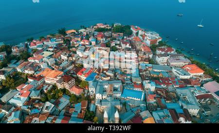 aerial view of the stone town in Zanzibar - Stock Photo