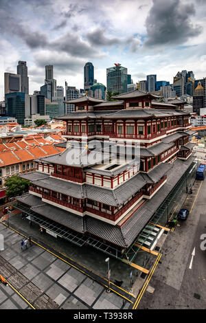 Buddha Tooth Relic Temple and Museum in Chinatown, Singapore - Stock Photo