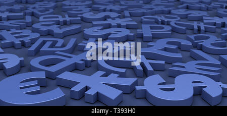 Currency Symbols On Blue Background - Stock Photo