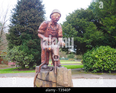 Jack, the Quarryman statue unveiled in Buxton, UK, in January 2018 to celebrate the heritage of quarrying in Buxton and surrounding areas. - Stock Photo
