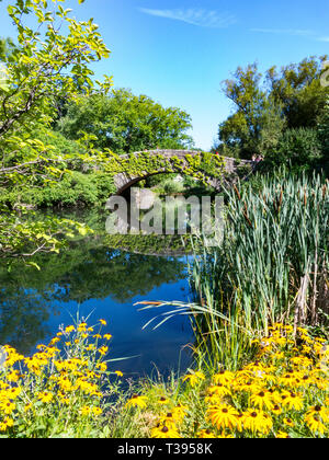 The Pond and Gapstow Bridge are a Popular Location in Central Park, NYC, USA - Stock Photo