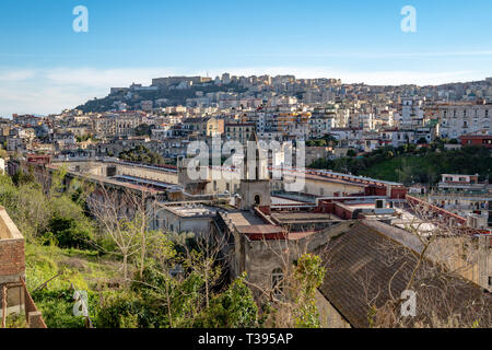 Stunning view of San Gennario Extramoenia and the hospital of San Gennaro. in the background Castel sant'elmo and the Certosa di san Martino - Stock Photo