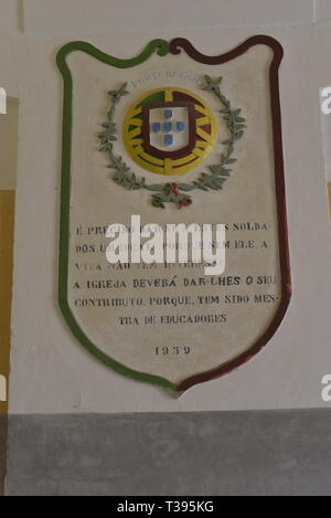 inscription plaque in the 'Forte da Graça' Elvas, Alentejo. The plaque is dated of 1959 and mentions the role of the church in the soldiers education - Stock Photo