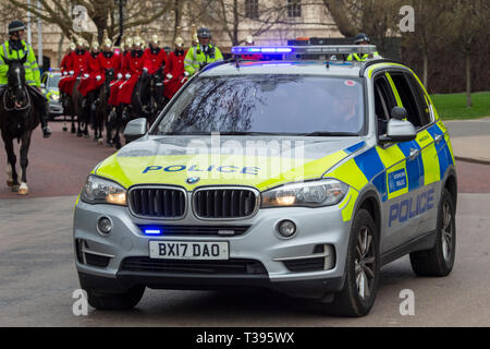 Household Cavalry in winter dress changing the guard, Horse Guards Parade, London, Saturday, March 23, 2019.Photo: David Rowland / One-Image.com - Stock Photo