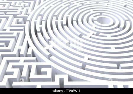 3d render of circular abstract white background. Concept of problem solution, challenge for escape strategy - Stock Photo