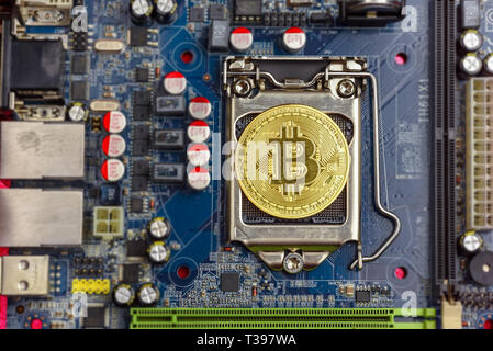 Top view of golden bit coin on computer mother board processor.Bitcoin mining farm, working computer equipment concept. - Stock Photo