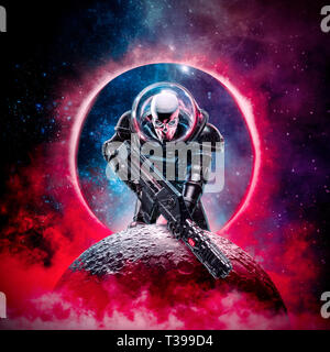 The death trooper / 3D illustration of science fiction scene showing evil skull faced astronaut space marine soldier with laser pulse rifle rising abo - Stock Photo
