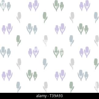 Pattern of pink hyacinths on a white background - Stock Photo