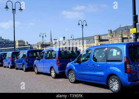 Bristol Blue Taxis Temple Meads Station Bristol - Stock Photo