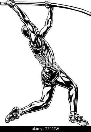 Pole Vaulter Vector Illustration - Stock Photo