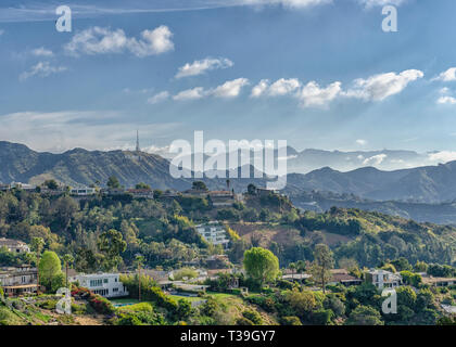 Los Angeles, CA, USA, April 5, 2019: A view of the Hollywood sign as seen from Runyon Canyon, Los Angeles, CA. - Stock Photo