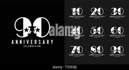 Set of anniversary logotype. Modern anniversary celebration icons design for company profile, booklet, leaflet, magazine, brochure poster, web, invita - Stock Photo