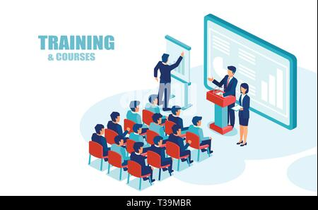 Isometric vector of business people education group office employees, listening to financial presentation - Stock Photo