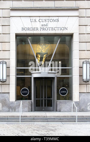 Entrance to the US Customs and Border protection office in Washington, DC - Stock Photo