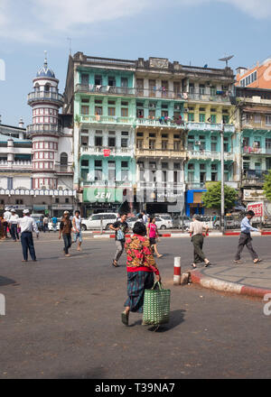 old building on Sule Pagoda Roundabout in Yangon (Rangoon), Myanmar (Burma) - Stock Photo
