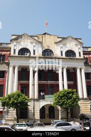 colonial-style building, Central Telephone & Telegraph Office located  in Pansodan Street,Yangon (Rangoon), Myanmar (Burma) - Stock Photo