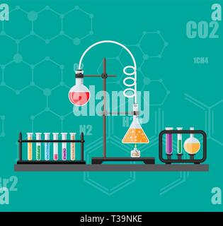 Laboratory equipment, jars, beakers, flasks, spirit lamp on table. Biology science education medical vector illustration in flat style - Stock Photo