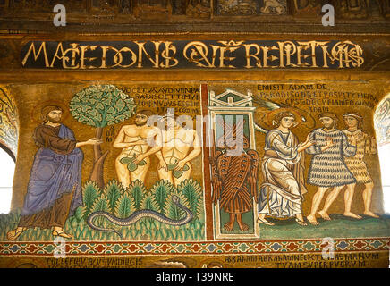 Medieval Byzantine style mosaics of the story of Adam & Eve being expelled from Eden,  the Palatine Chapel, Cappella Palatina, Palermo, Italy - Stock Photo