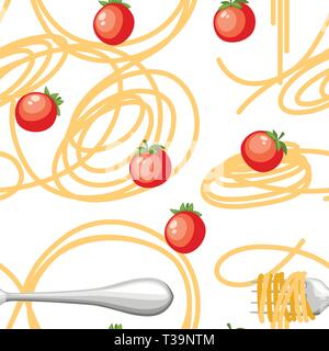Italian food pasta Spaghetti with tomatoes. Seamless pattern. Flat vector illustration on white background. Web site page and mobile app design. - Stock Photo