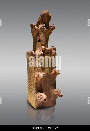 Hittite terra cotta tower shaped vessel representing a two storey tower of the city walls complete with merlons - 14th century BC - Hattusa ( Bogazkoy - Stock Photo